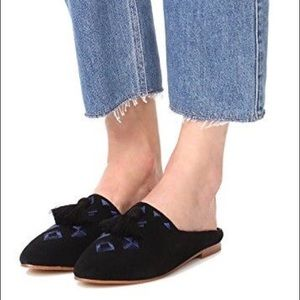 Soludos Shoes - Soludos Black Suede Embroidered Tassel Loafers